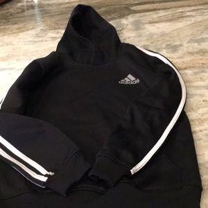 Boys black Adidas hoodie. Fleece lined. Thick.